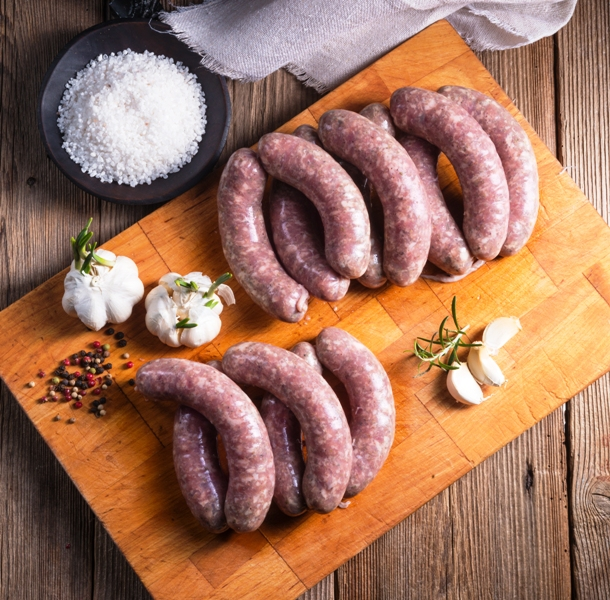 Pork and garlic sausages